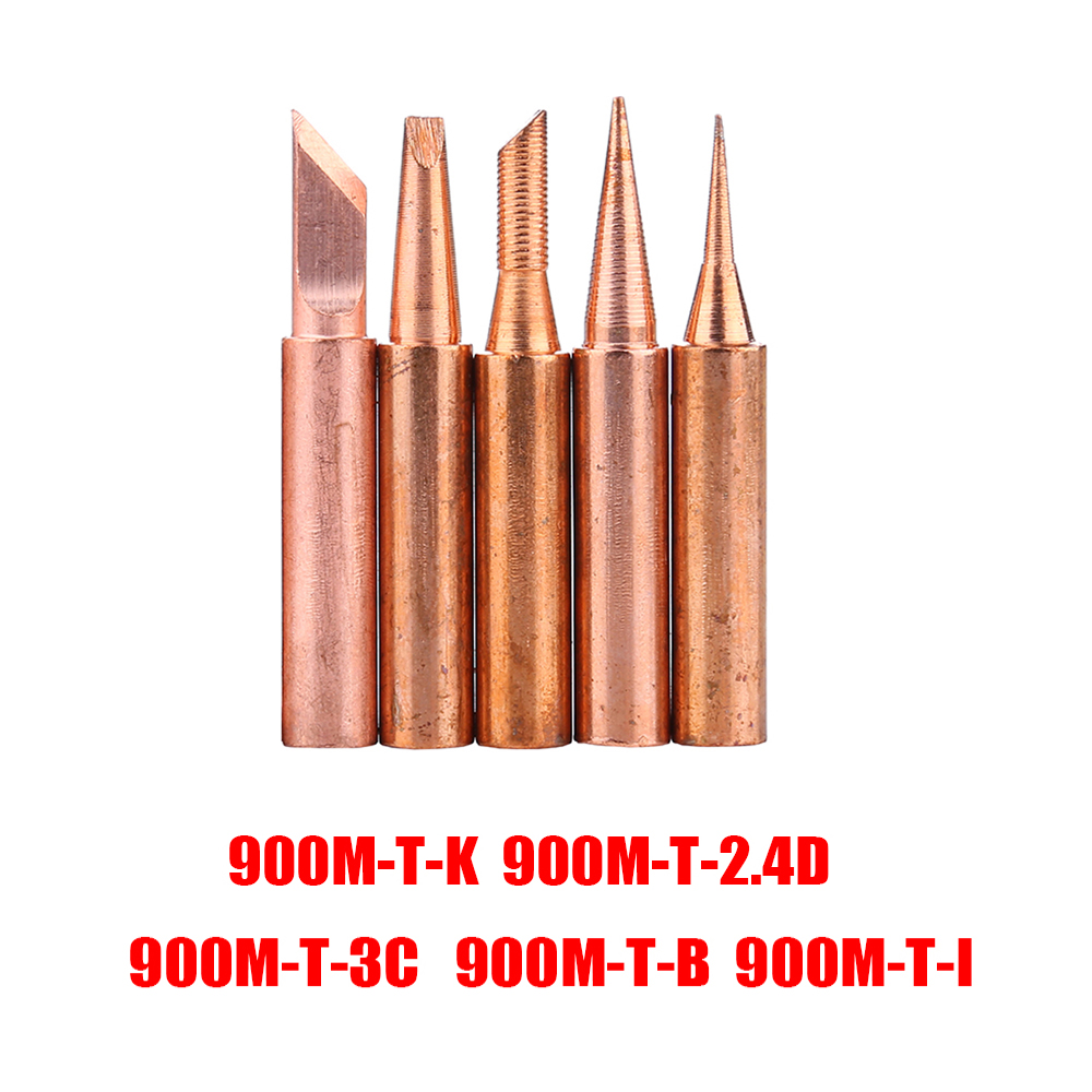 5pcs/lot 900M-T Copper Soldering Tip Lead-free Solder Iron Welding Tips BGA Soldering Station Tools