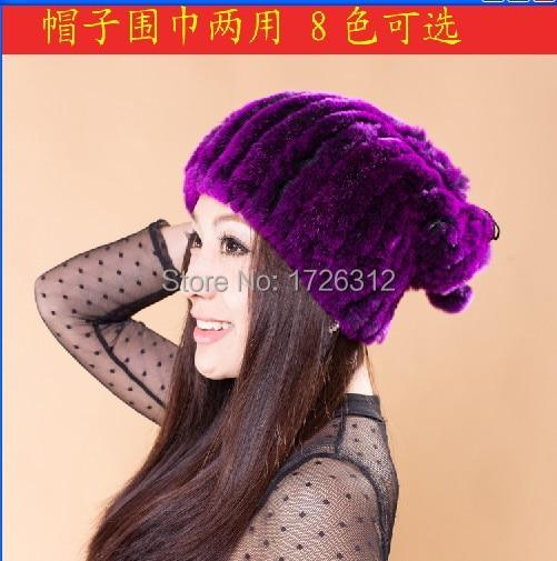 Discount  Rex rabbit hair hat thickening dual-use scarf women's rex rabbit hair knitted fur collars muffler s
