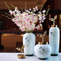 Современный китайский стиль хранения handpainting Декоративные Фарфоровые Керамика ваза банку с латунной крышкой