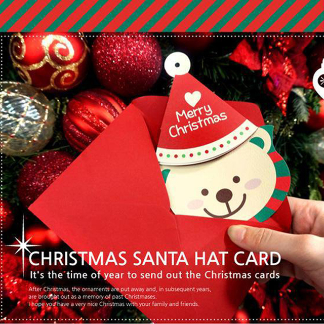 30 pieceslotcartoon small santa claus bear merry christmas postcard greeting card - When To Send Out Christmas Cards