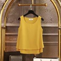 2019 Новая Мода Лето Шифон Блузки Женщины Плюс Размер 4XL Свободные Без Рукавов О-Образным Вырезом Топы 13 Цветов Блузки Рубашки
