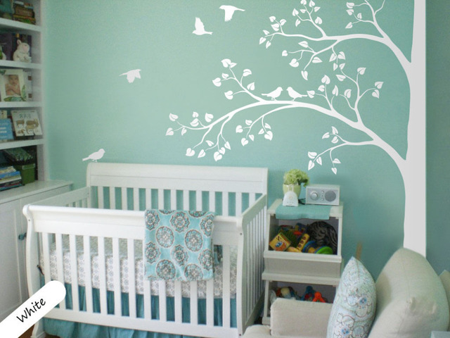 White Tree Wall Decal Corner Tree Wall Decals Nursery Sticker Decor Mural  235X200CM