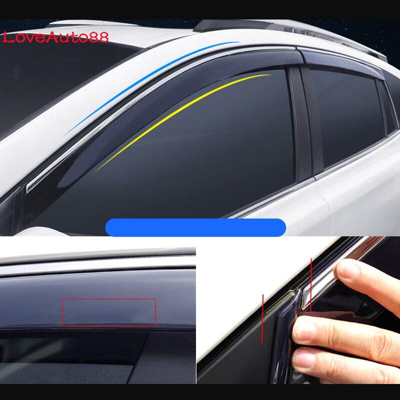 Voiture fenêtre visière porte pluie pare-soleil côté fenêtres couverture garniture Auto accessoires 4 pièces pour Toyota RAV4 2016 2017 2018