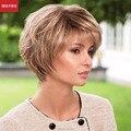 MAYSU Perucas de Cabelo Humano Curtos Para As Mulheres Elegante Multi-Camadas Da Moda Brasileira Virgem Do Cabelo peruca Loira Capless Estilo Europeu