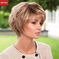 MAYSU Short Human Hair Wigs For Women Elegant Multi-Layered Trendy Brazilian Virgin Hair Blonde wig Capless European Style