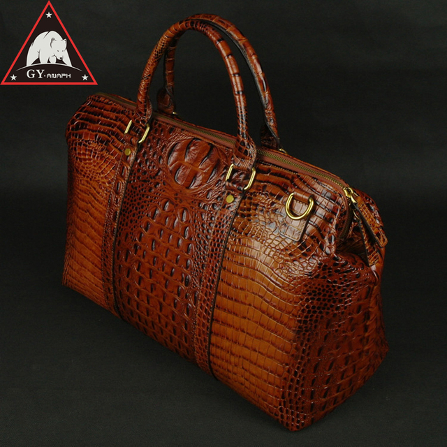 """ANAPH Collection Travel Duffle Bag/ Alligator Patent Leather Luggage/ Overnight Weekender Bags Attached 17"""" Laptop Case In Brown"""