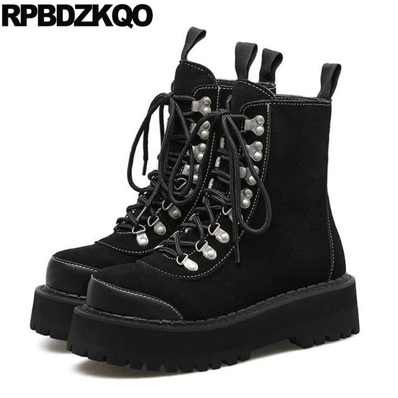 Round Toe Autumn Shoes Muffin Harajuku Suede font b Women b font Gothic Platform font b