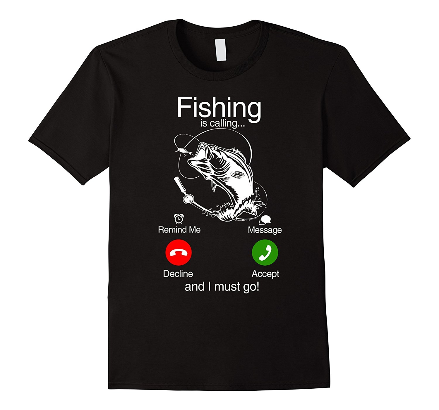 Fishinger Is Calling and I Must Go Phone Screen Tee Round Neck Clothes 100% Cotton Summer   T     Shirt   New Fashion   T  -  Shirt