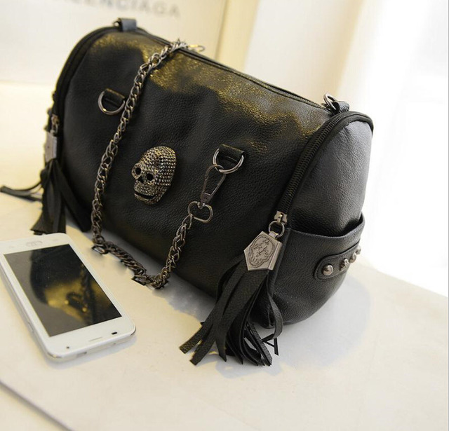 Women Handbag Skull Chain Leather