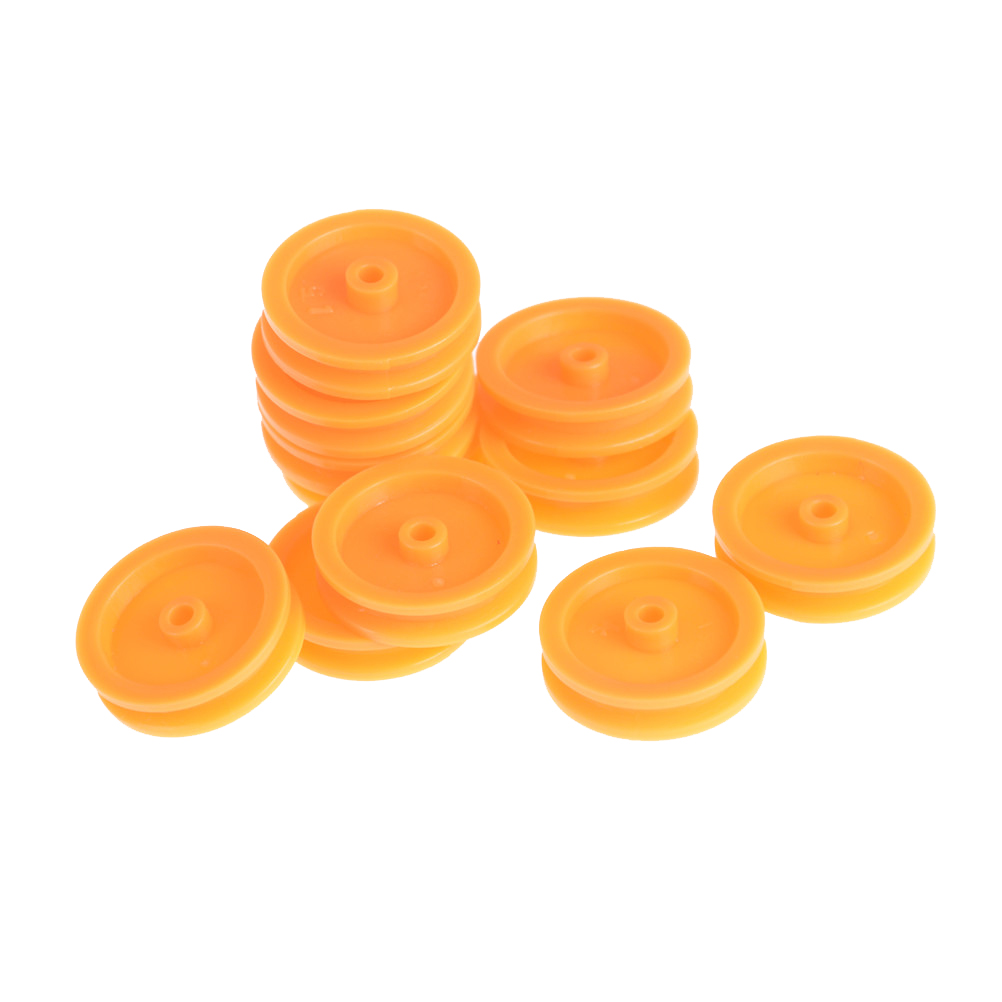 20Pcs/lot 2mm Hole Orange Plastic Belt Pulley for DIY RC Toy Car Airplane Accessories Wholesale 20pcs lot nylon plane hinge for rc airplane 20 37mm 15 27mm dropship
