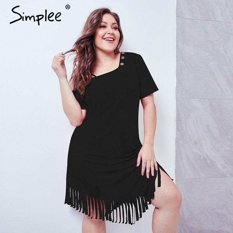 Simplee винтажное женское платье с кисточками, большие размеры, летнее черное платье с коротким рукавом, оверсайз, vestidos, сексуальное вечернее п...