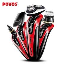 POVOS Profesyonel Kişisel Bakım Kiti Men-4D 360-degree ile Tamamen Yıkanabilir Tıraş Makinesi Tıraş için Üçlü Rotatif Başkanı PD9209QS-01