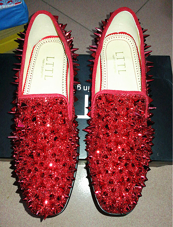 LTTL Factory Customized Red Green Blue Mens Casual Shoes Sparkle Glitter Spiked Handmade Shoes