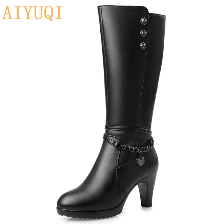AIYUQI Woman boots high heeled 2019 Genuine Leather motorcycle boots thick wool warm winter boots female