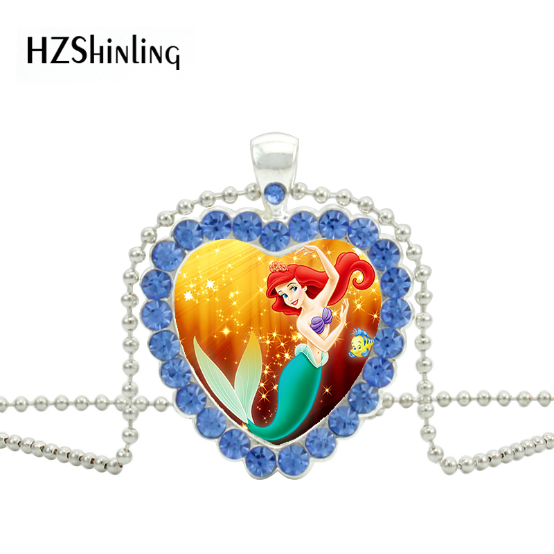 Fashion Cartoon The Little Mermaid Ariel Princess Movie Heart Jewelry Red Crystal Pendant Necklace Girls Charm Childrens Gifts Jewelry & Accessories