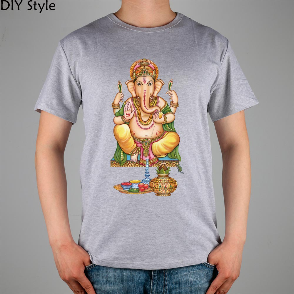 LORD GANESH GOD Hindu elephant Ganesha T-shirt cotton Lycra top 10889 Fashion Brand t shirt men new DIY Style high quality