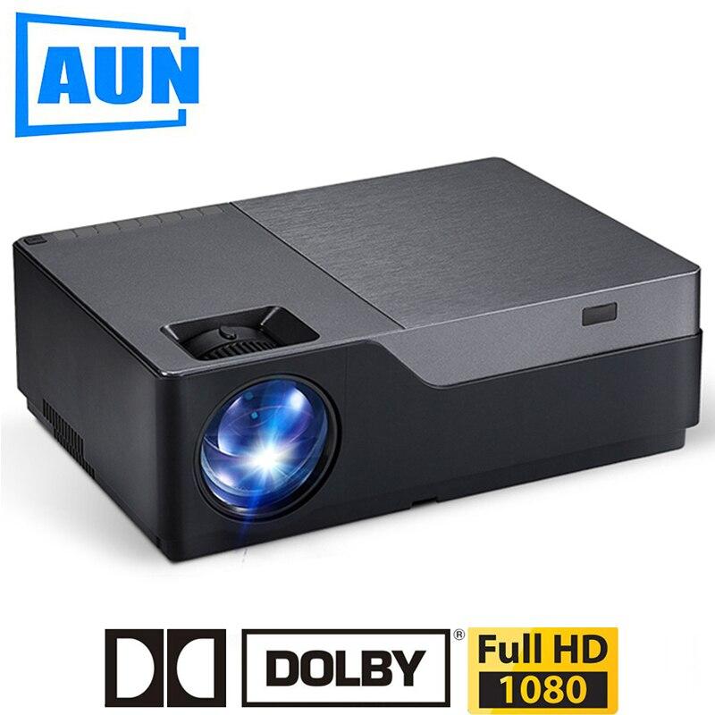 AUN Projetor Full HD, Resolução de 1920x1080. LEVOU Suporte Projetor AC3. Home Theater. 5500 Lumens. (Opcional Android WIFI) M18