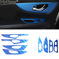 For Nissan Xtrail Rogue 2014 Car Central Button Area And Inner Armrest Trim Car Stickers Carbon