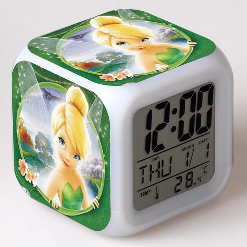 Princess Figurines Tinker Bell Fairies LED Colorful Touch light Alarm Clock Kids TinkerBell Action FIgure Toys For girls