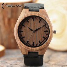 YISUYA Casual Men's Simple Wooden Watches Black Leather Strap Nature Wood Bamboo Novel Wristwatch Male Clock Relogio Masculino