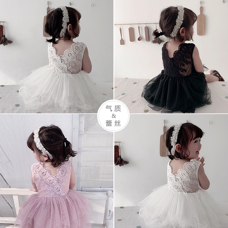 Girls Princess Dresses 2019 Summer New Gauze Tutu Sleeveless Dress Little Girls Vest Backless V Infant Cotton Lace DressGirls Princess Dresses 2019 Summer New Gauze Tutu Sleeveless Dress Little Girls Vest Backless V Infant Cotton Lace Dress