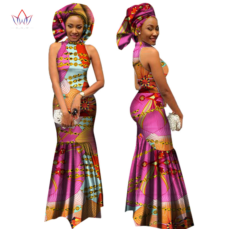 African Style Clothing 2018 Bazin Riche African Print Long Dresses for Women Dashiki Turtleneck Dress Party Vestidos WY1306