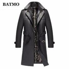 Batmo Новое поступление осенне-зимнее толстое Мужское пальто из натуральной кожи, кожаная мужская куртка, большие размеры S-5XL