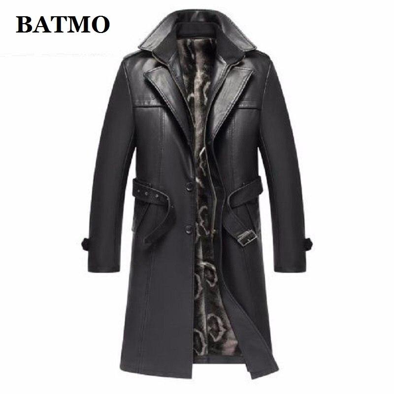 Batmo, Новое поступление, осенне-зимний Тренч из натуральной кожи, мужская кожаная куртка, большие размеры, S-5XL, 2019