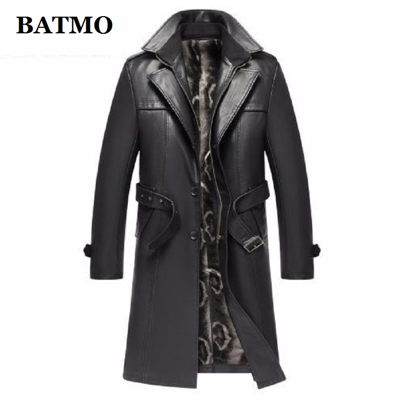 Batmo 2019 New Arrival Autumn&winter Real Leather Thicked Trench Coat Men,Leather Jacket Men,plus-size S-5XL