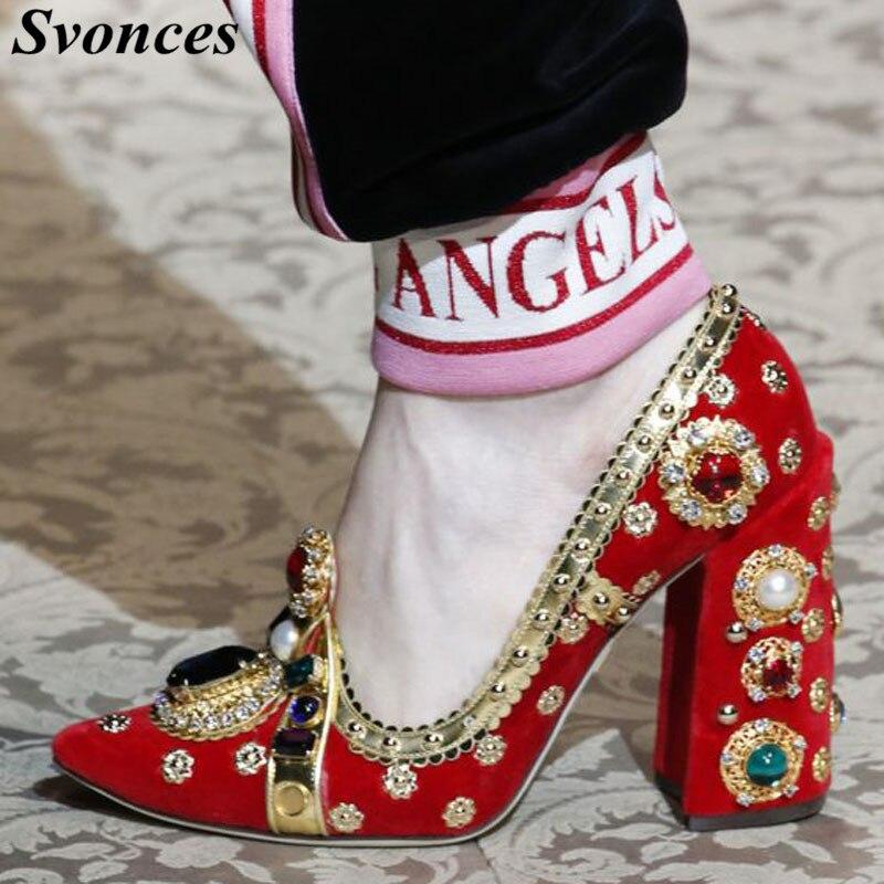 Runway Red Wildleder Frauen Mode Schuhe Strass Design High Heel Pumps Kristall Glitter Diamant Gladiator Heels Großen Größe 35  43-in Damenpumps aus Schuhe bei  Gruppe 1