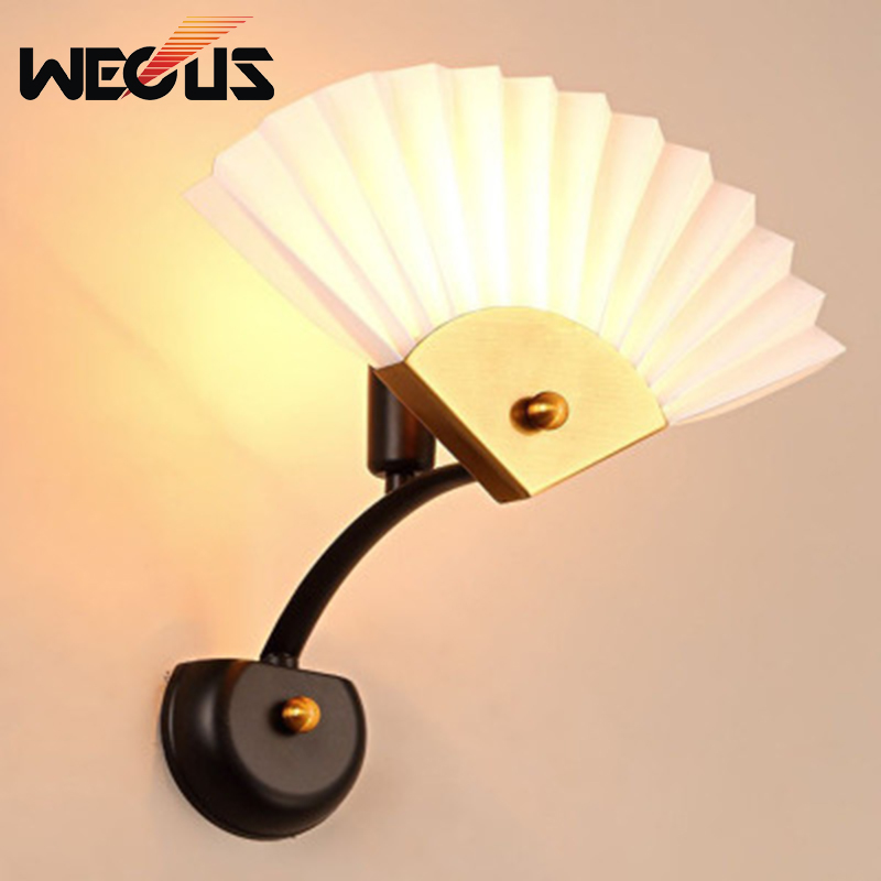 Chinese style personality wall lamp creative Nordic cafe concise wall light study bedside livingroom bedroom lamp