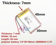 best battery brand 3.7V lithium polymer battery 703048 wireless transmitter electronic dog 1000mAH sound card 703050(China)