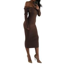 С открытыми плечами V Средства ухода за кожей Шеи пикантные Для женщин длинные платья осень-зима трикотажные с длинным рукавом облегающее Платья для вечеринок Vestidos