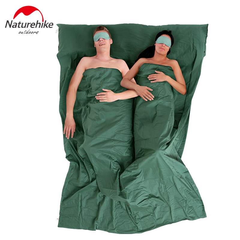ФОТО Naturehike 2 Person Thin Sleeping bag Linner Lining With Pillowcase 40 Combed Cotton Cycling Travel Tent Accessories 220x160cm