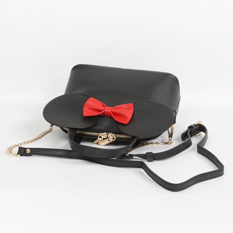 Fashion Handbags Leather Women Bag Mickey Mouse Big Ear Bow Chain Shoulder