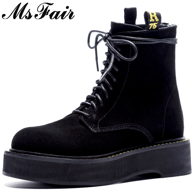 MSFAIR Round Toe Square heel Women Boots Fashion Zipper Low Heel Ankle Boots Women Shoes Cross-tied Martin Boots Shoes Woman rasmeup women chelsea boots autumn winter elastic band ankle boots shoes low square heel martin boots vintage fashion boots