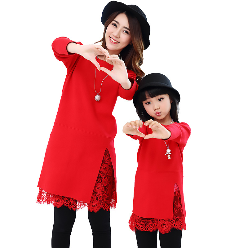 Mom Daughter Family Matching Outfit Kid Girls Long Sleeve Knitted Dress Women Lace Patchwork Knit Dress Family Clothes Hot SalesMom Daughter Family Matching Outfit Kid Girls Long Sleeve Knitted Dress Women Lace Patchwork Knit Dress Family Clothes Hot Sales