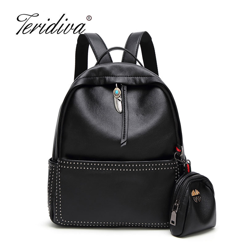 Teridiva Brand 2017 New Fashion Preppy Style Rivet Rucksack Hot Sale Ladies Shoulder bag Student School Backpack for Girl Purse