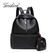 Teridiva бренд 2017, Новая мода элегантный дизайн с заклепками рюкзак Лидер продаж женская сумка студент школы рюкзак для девочки кошелек