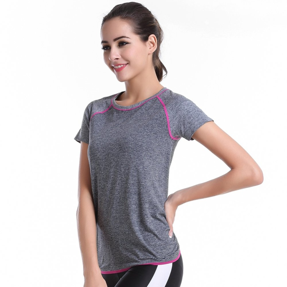 2018New Summer Women Gym Fitness shirt Compression Tights Sport T-shirts Dry Quick Yoga Running Short Sleeve Clothes tops