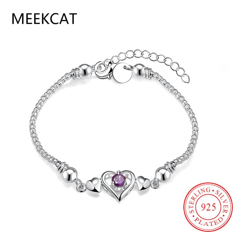 Women Bracelet Elegant Purple Zircon Crystal Heart Jewelry 20cm Long Chain  Adjustable Charm Bangle Popular Friendship Bracelet