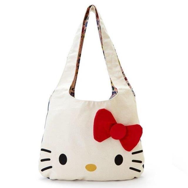 c269c193a Simple White Cartoon Hello Kitty 3D Bow Canvas Shoulder Bags Big Handbag  for Women Girls Large Shopper Shopping Bag