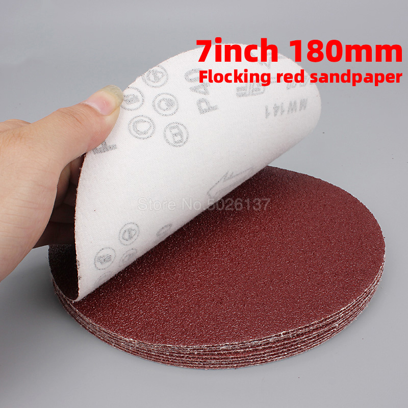 1Pcs 7 Inch 180MM Sandpaper Brushed Back For Sander Red Round Sanding Paper Disk Sand Sheets Grit 60-1200 Hook Loop Disc