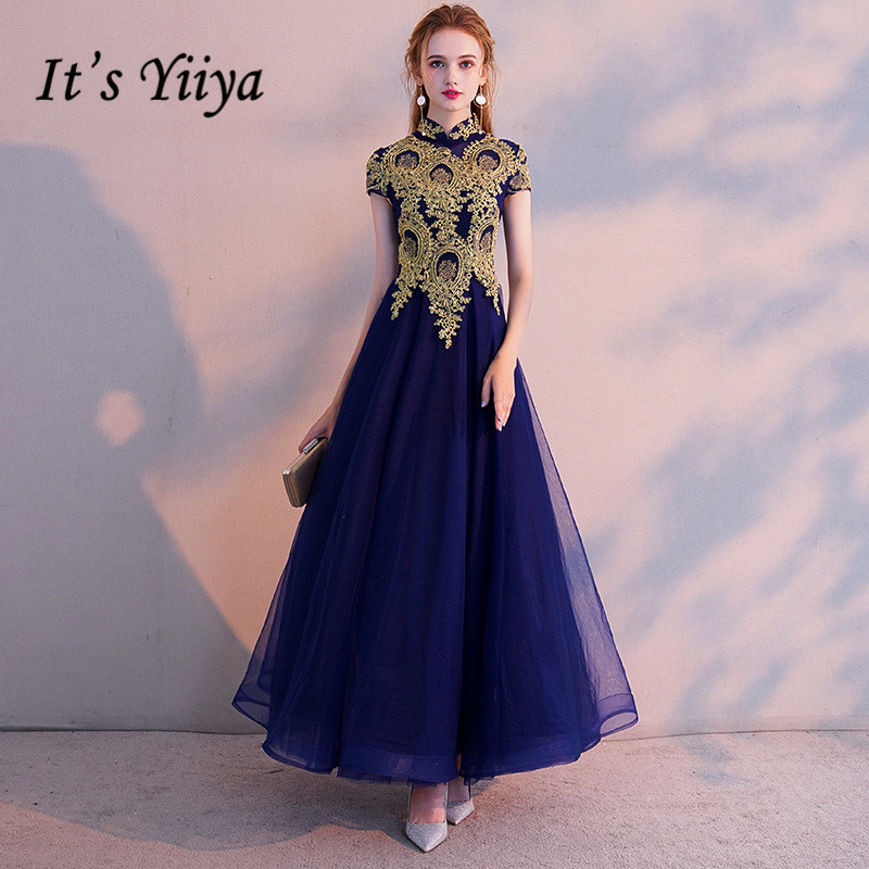 It's YiiYa   Evening     Dress   Vintage Gold Lace Embroidery Party   Dresses   Elegant Blue Zipper Long Formal Gown For Women E021