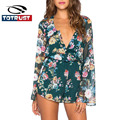 Floral Women Long Sleeve Playsuit Romper 2016 Summer Ladies Print Elegant Jumpsuit Romper Beachwear Sexy Overalls Kimono Shorts