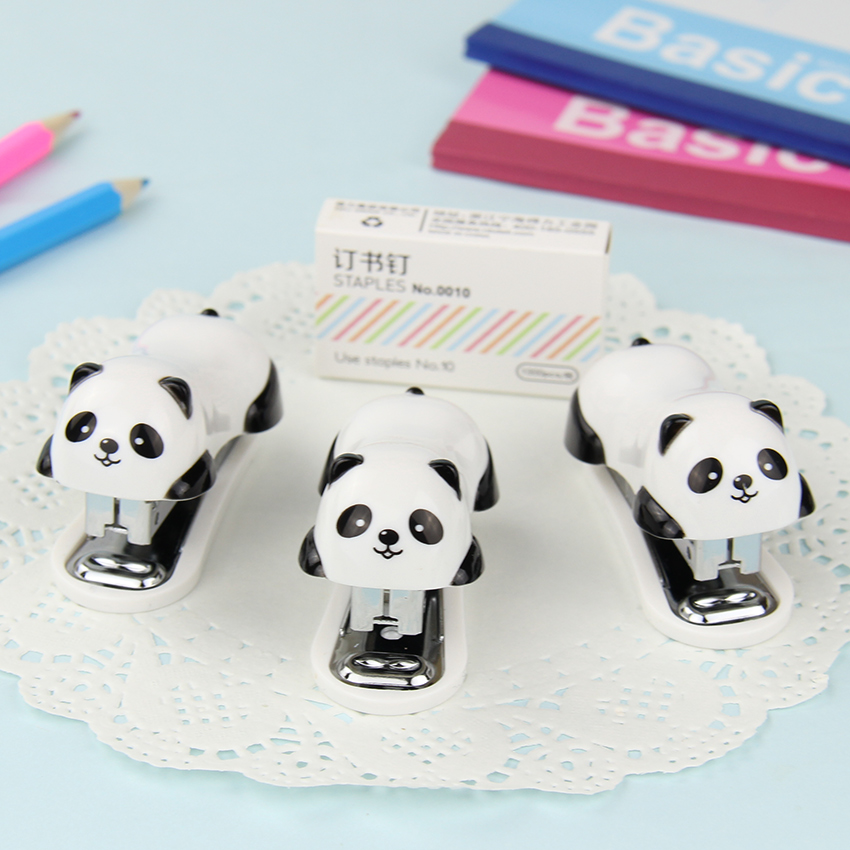 Nauwkeurig 1 Set Mode Cartoon Panda Nietmachine Set Papier Kantoor Binding Binder Nietjes Essentiële Benodigdheden Gift Voor Student Uitstekende Eigenschappen