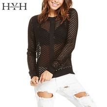 цена на HYH HAOYIHUI Autumn Solid Black Long Sleeve Casual Jumper Crew Neck Pullover Sexy Hollow Out Fishnet Sweater