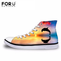 FORUDESIGNS Women's Vulcanize Shoes Dolphin Print Casual High Top Canvas Shoes Teenager Girls Lace up Flat Shoes Footwear 2018