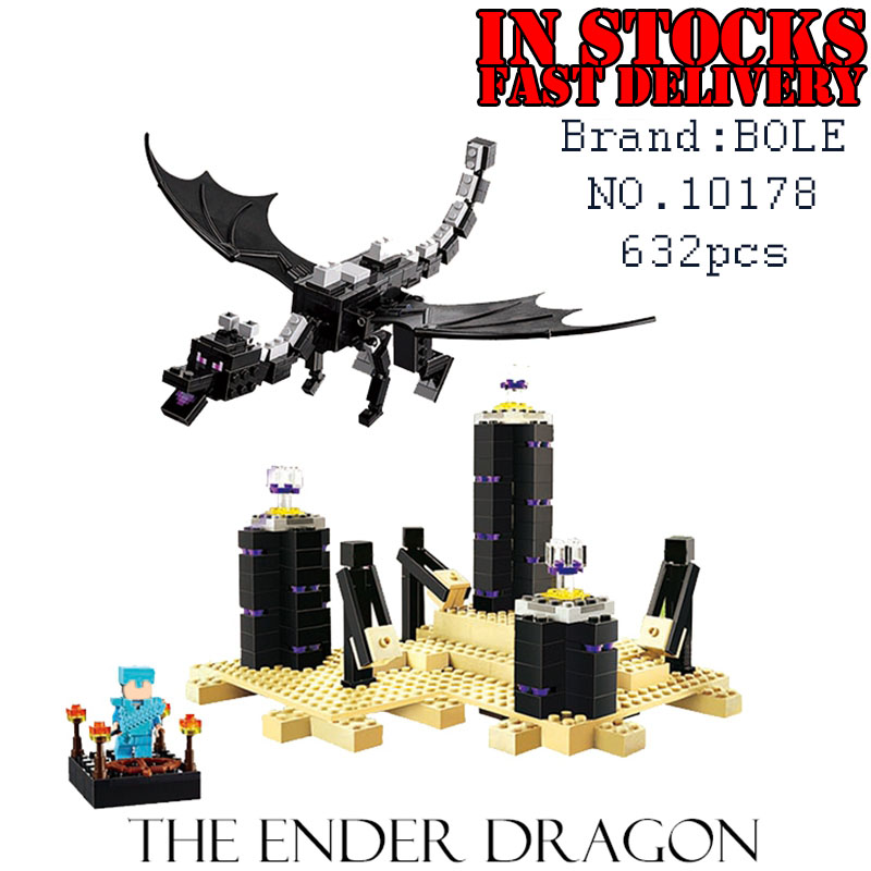 Bela Minecraft 10178 End Shadow Dragon 632pcs Building Blocks Bricks enlighten toys for children birthday gifts brinquedos 21117 26cm minecraft toys high quality minecraft enderman plush toys even cooly creeper jj dolls children brinquedos gifts hot sale