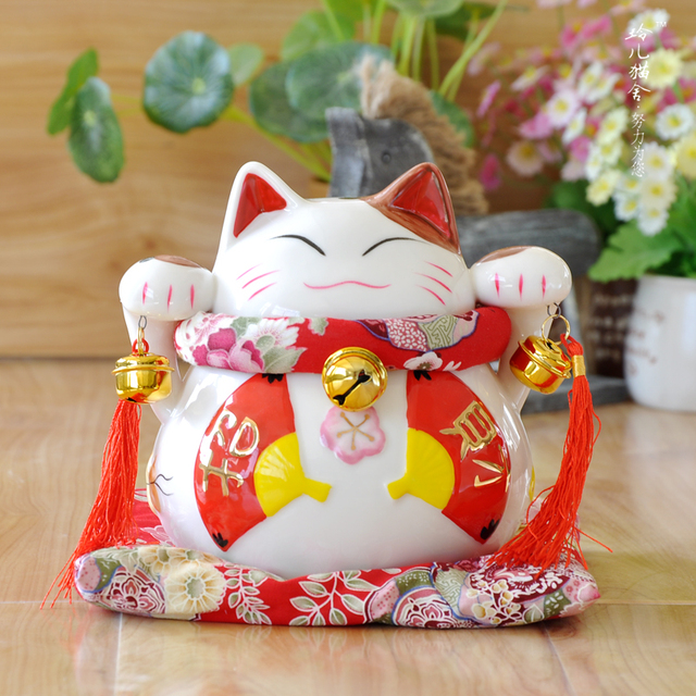 red fan lucky lucky cat ornaments wedding gift opening trumpet
